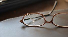 Lens of broken eyeglasses